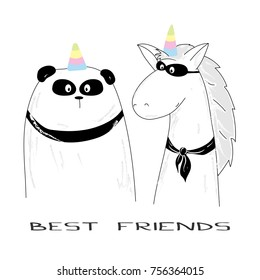 Best friends - panda and unicorn