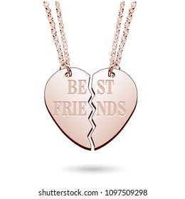Best Friends Rose Gold Jewelry Charm Necklace on Chains