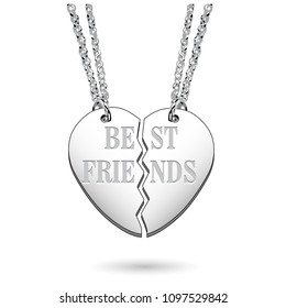 Best Friends Silver Jewelry Heart Charm on Chains