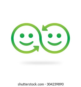 Best friends vector icon. Friendship and agreement concept. Smile sharing symbol. Swap vector icon.