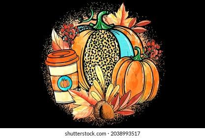 best funny Pumpkins Leaves Hayrides Leopar vector design