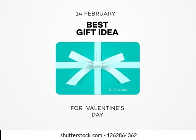 Best gift idea web banner for Valentines day, gift certificate, online shopping, vector illustration.