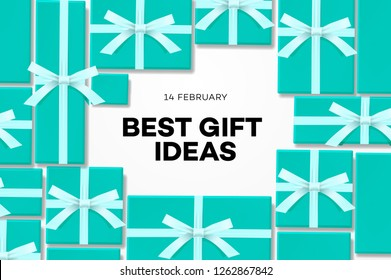 Best gift idea web banner for Valentines day with sweet tiffany blue gift boxes, online shopping, vector illustration.
