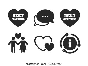 Best girlfriend and boyfriend symbol. Chat, info sign. Valentine day love icons. Couple lovers sign. Classic style speech bubble icon. Vector