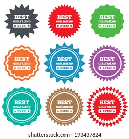 Best girlfriend ever sign icon. Award symbol. Exclamation mark. Stars stickers. Certificate emblem labels. Vector