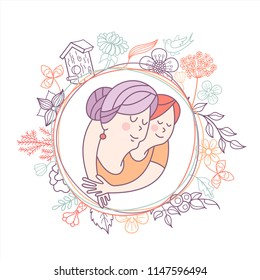 Best grandma. Grandmother and her beloved grandson. Day of the elderly person. Family day. Cute vector greeting card. The concept of a happy family, a happy old age in the circle of loving relatives.