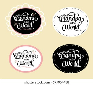 Best Grandma and Grandpa in the World Brush Script Typography Vector Design Emblem Set with flower and design accents in circular frame, white and black versions on creme background