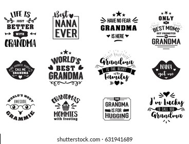 Best grandma handwritten in black brush, grandparents day badges, get promoted to grandmother, luckily to call, typographic design logo in calligraphy style, vector illustration on white background