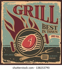 Best grill in town - vintage tin sign. Retro BBQ poster template with fresh beef steak.