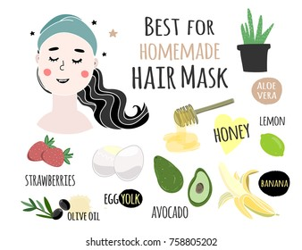 Best for homemade hair mask. Hand drawn colored vector illustration
