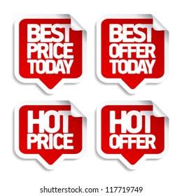 Best hot offers speech bubbles set.