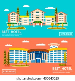 Best hotel banner for web. Vector  illustration of Hotel building in flat style