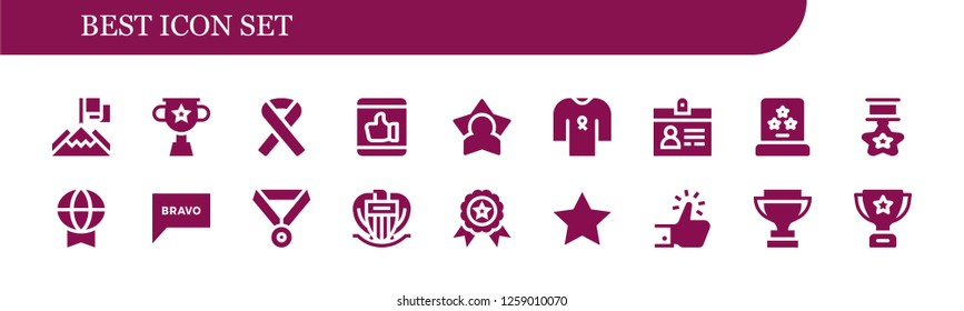 best icon set. 18 filled best icons. Simple modern icons about  - Achievement, Trophy, Ribbon, Like, Star, Accreditation, Award, Prize, Bravo, Medal, Nice, Winner