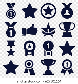 Best icons set. set of 16 best filled icons such as Star, award, medal, thumb up, trophy, 1st place star, rank