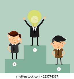 Best idea businessmen standing on first place , with second place and third place stand. idea leadership business plan concept ,vector,illustrator.