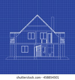 Best interesting architectural background on graph paper. Cross-section house. Vector blueprint.