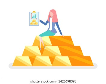Best invest, woman sitting on pile of gold with folder. Charts and graphs, financial analysis, investment concept, cartoon style female on golden bar isolated