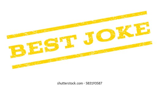 Best Joke watermark stamp. Text tag between parallel lines with grunge design style. Rubber seal stamp with dirty texture. Vector yellow color ink imprint on a white background.