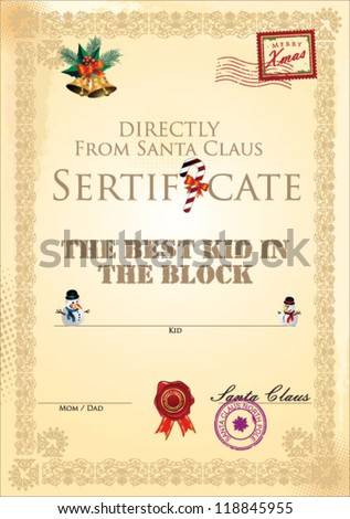 Best Kid Block Certificate Template Stock Vector Royalty Free
