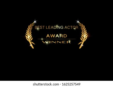 best leading actor concept icon, isolated on black background. Gold vector best awards winner prize icon with golden shiny text
