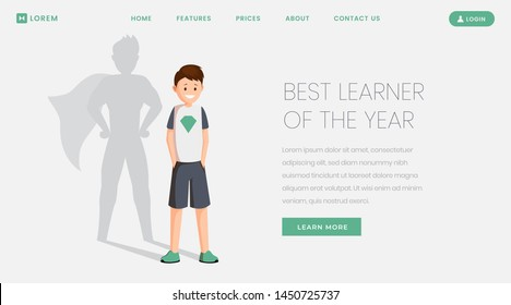 Best learner landing page vector template. Best student, excellent schoolkid of year website, webpage. Happy schoolboy with superhero shadow, teenager celebrating victory cartoon character