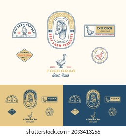 Best Local Duck Poultry Farm Retro Framed Badges or Logo Templates Collection. Hand Drawn Goose Face and Birds Sketches with Retro Typography. Vintage Sketch Emblems Set. Isolated.