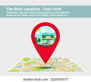The best location fast food. Point on the map with building, vector illustration