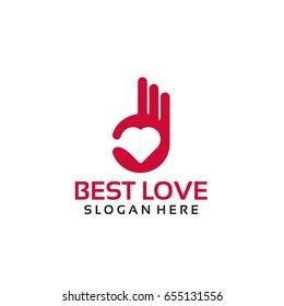 Best Love Logo Template with Hand Gesture vector illustration