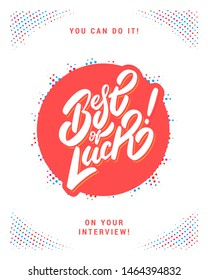 Best of luck. Vector lettering card.