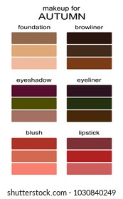 Best makeup colors for autumn type of appearance. Seasonal color analysis palette