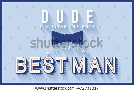 best man invitation card template vectorillustration stock vector