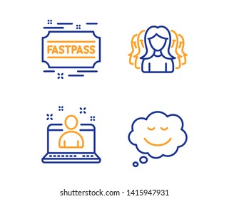 Best manager, Fastpass and Women group icons simple set. Speech bubble sign. Best developer, Entrance ticket, Lady service. Comic chat. Linear best manager icon. Colorful design set. Vector