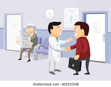 The best medical health care. Modern interior of a private medical practice. Health Center. Waiting room at the doctor. Simple cartoon vector illustration.