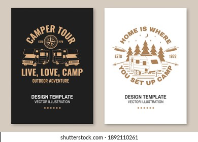 The best memories are made camping. Posters, banners, flyers Vector. Concept for shirt or logo, print, stamp or tee. Vintage typography design with RV Motorhome, camping trailer silhouette.