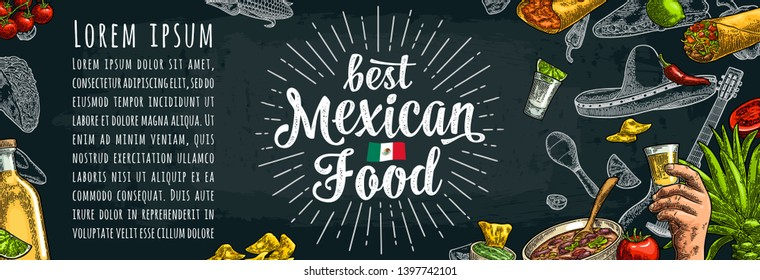 Best mexican food handwriting lettering. Sombrero, tequila, guitar, burrito, tacos, nachos, chili, agave, lime vector vintage engraving illustration on dark background