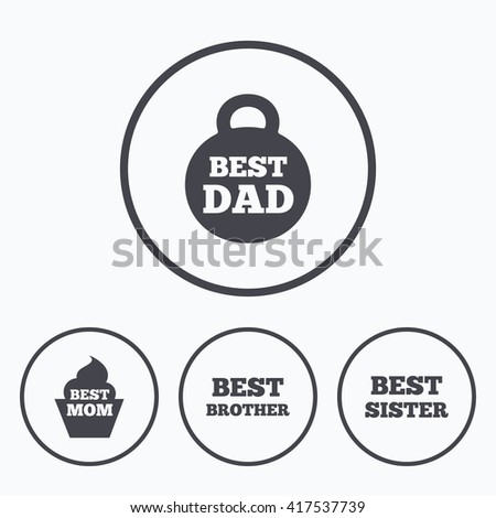 Best Mom Dad Brother Sister Icons Stock Vector Royalty Free