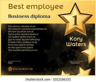 Best monthly employee business diploma recognition award vector template. Best employee certificate, honorary banner with golden star illustration
