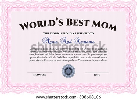 mother of the year award template