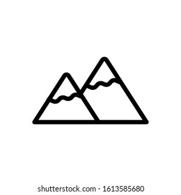 The best mountain icon design. High quality vector illustration in trendy line style with black color. Suitable for many purposes.