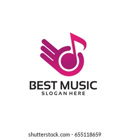 Best Music Logo Template with Hand Gesture vector illustration