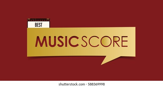 Best Music Score banner isolated on red background. Movie award banner design template. Vector illustration.