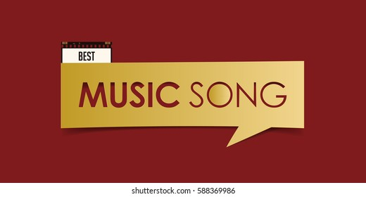 Best Music Song banner isolated on red background. Movie award banner design template. Vector illustration.