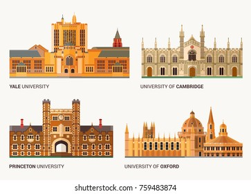 Best National Universities. Flat Buildings of Yale, Oxford, Cambridge   and Princeton .Vector Illustration.