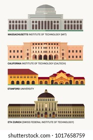 Best National Universities. Flat Colorful Vector Illustration.