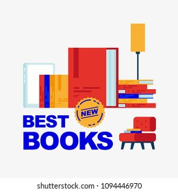 Best new books. Lamp, chair and several books without background. To illustrate the review of book novelties and bestselling book.