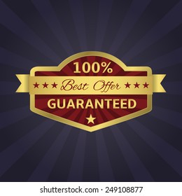Best Offer 100% Guaranteed golden icon. Vector illustrator.
