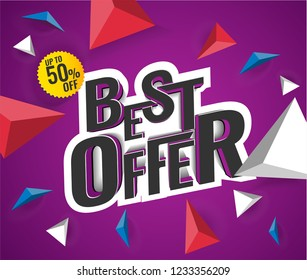 Best Offer 3D Text Colorful Poster. up to 50% off, vector illustration.