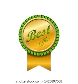 Best offer award ribbon icon. Gold sign isolated white background. Golden badge choice reward. Symbol win celebration. Decoration medal success, advantage, competition quality Vector illustration