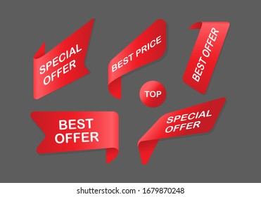 Best offer banner set. Special offer and best price red ribbons set. Vector EPS 10
