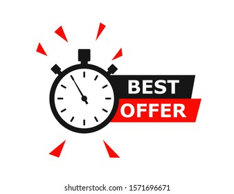 Best Offer banner with timer or countdown. Isolated vector illustration. Sale promotion banner. Web banner. Time concept. Day go sale price offer promo deal timer. EPS 10